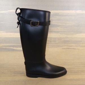 Womens Black Riding Rain Rubber Boots